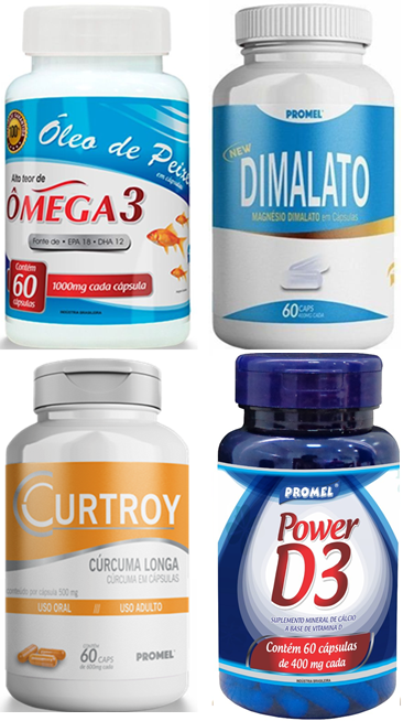 1 Omega 3 60caps 100mg + 1 Mag. Dimalato 60caps 400mg + 1 Curcuma 60caps 500mg + 1 Power D3 60caps 400mg