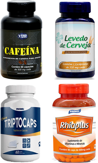 1 Cafeina 60caps 500mg + 1 Levedo de Cerveja 120caps 510mg + 1 Triptocaps 60caps 600mg + 1 Rhiaplus 90caps 600mg