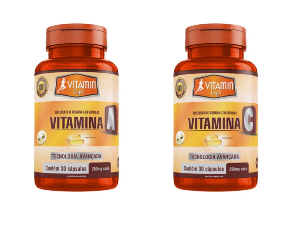 1 Vitamina A 30 caps 250 mg + 1 Vitamina C 30 caps 250 mg
